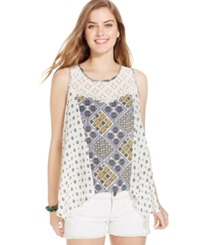 Jolt Juniors' Printed High Low Tank Top Natural