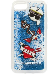 Karl Lagerfeld Liquid Glitter Capitain Icons Iphone Case White