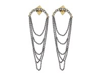 Alexis Bittar Crystal Encrusted Long Draping Fringe Post Earrings Ruthenum Earring Gold