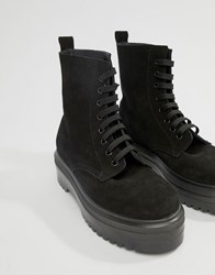 Office Atomize Chunky Black Suede Flat Ankle Boot Black Suede