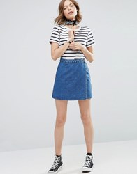 Asos Denim Wrap Skirt In Mid Wash Blue Midwash