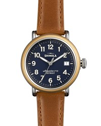 Runwell Coin Edge Watch With Sunflower Leather Strap 38Mm Women's Tan Shinola