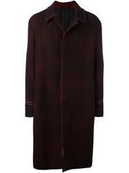 Lanvin Smudged Effect Long Coat Red