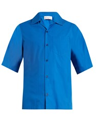 Raey Short Sleeved Cotton Shirt Blue