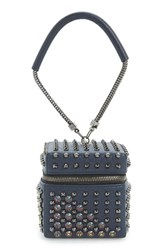 Mcm 'Diamond Stark' Mini Cube Clutch Blue Dress Blue