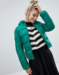Bershka Light Weight Hooded Padded Jacket In Green