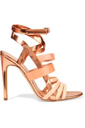 Rupert Sanderson Tallyho Metallic Leather Sandals Bronze