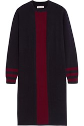 Chinti And Parker Striped Cashmere Dress Navy