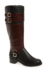 Bella Vita Women's 'Adriann Ii' Riding Boot Black Burgundy Faux Leather