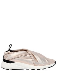 Casadei 30Mm Stretch Satin Slip On Sneakers Light Gold