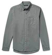 Alex Mill Button Down Collar Overdyed Cotton Oxford Shirt Gray Green