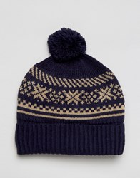 7X Fairisle Bobble Hat Navy