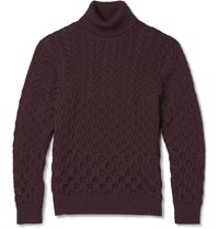 Etro Slim Fit Cable Knit Wool Rollneck Sweater Burgundy