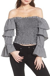 Wayf Denis Off The Shoulder Ruffle Top Black White