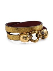 Alexander Mcqueen Twin Skull Metallic Leather Wrap Bracelet Antique Gold