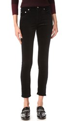 Rag And Bone 10 Inch Velvet Zipper Capri Jeans Black