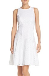 Women's Maggy London Cotton Eyelet Fit And Flare Dress White