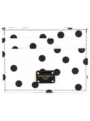 Dolce And Gabbana Polka Dot Card Holder White