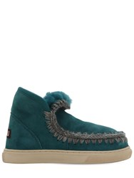 Mou 20Mm Mini Eskimo Shearling Boots Petrol