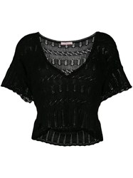 Kristina Ti Open Knit Crop Top Black