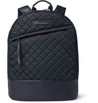 Want Les Essentiels Kastrup Leather Trimmed Quilted Tech Canvas Backpack Blue