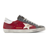 Golden Goose Red And Grey Suede Superstar Sneakers