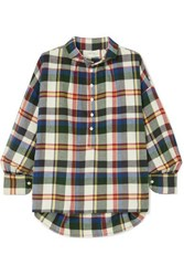 The Great Painter's Smock Checked Cotton Flannel Shirt Navy