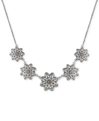 Lucky Brand Two Tone Openwork Floral Statement Necklace Silver Gold