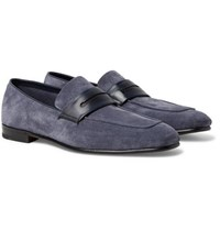 Ermenegildo Zegna Asola Leather Trimmed Suede Penny Loafers Blue
