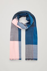 Cos Interwoven Checked Wool Scarf Blue
