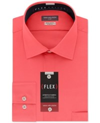 Van Heusen Classic Fit Wrinkle Free Flex Collar Stretch Solid Dress Shirt Coral Reef
