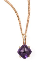 Frederic Sage Jelly Bean Round Amethyst And Diamond Pendant Necklace