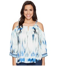 Hale Bob Sun Streaked Rayon Stretch Satin Cold Shoulder Top Blue Women's Clothing