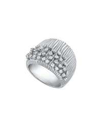 Hueb Plisse 18K White Gold Pleated Diamond Ring