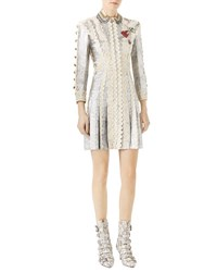 Gucci Long Sleeve Metallic Brocade Dress With Lace Details Silver