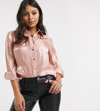 Glamorous Petite Relaxed Shirt In Soft Organza Pink
