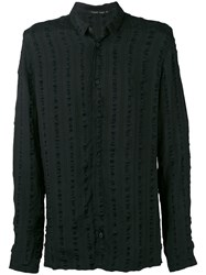 Transit Striped Detail Long Sleeve Shirt Men Silk Linen Flax Viscose Xs Black