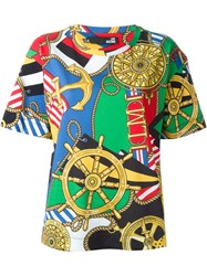 Love Moschino Nautical Print T Shirt Multicolour