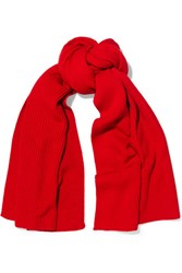 Christophe Lemaire Ribbed Wool Scarf Red