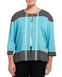Ming Wang Plus Striped Trim 3 4 Sleeve Jacket Ocean Black White