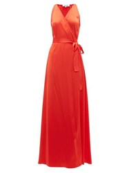 Diane Von Furstenberg Wrap Front Charmeuse Maxi Dress Orange