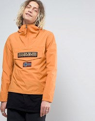 Napapijri Rainforest Overhead Jacket Hooded Layered Nylon In Orange Apricot