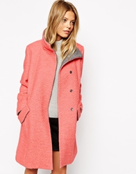 Asos Swing Coat With Funnel Neck In Textured Wool Pink