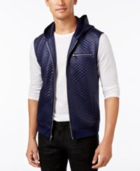 Inc International Concepts Men's Diamond Quilted Hooded Vest Only At Macy's Basic Navy