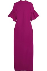 Merchant Archive Ruffled Wool Crepe Gown Magenta