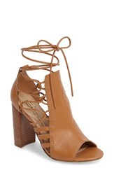 Sbicca Women's Adette Ankle Tie Sandal Tan Leather
