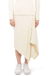 Topshop Women's Boutique Ribbed Drape Skirt Ivory