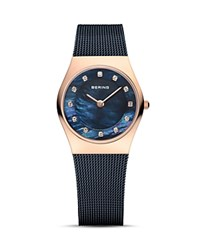 Bering Classic Mother Of Pearl Dial Watch 27Mm Blue
