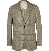 Dunhill Brown Houndstooth Checked Silk Linen And Wool Blend Blazer Brown