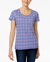 Charter Club Printed Cotton T Shirt Only At Macy's Modern Blue Combo